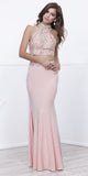 Two Piece Long Prom Dress Peach Beaded T-Back Halter