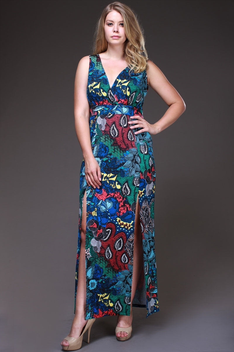 Ankle Length Multi Print Plus Size Maxi Dress Double Slit V Neck
