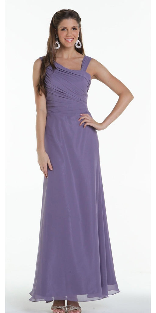 ON SPECIAL LIMITED STOCK - Asymmetrical Neck Sleeveless Purple Grey Formal Column Gown
