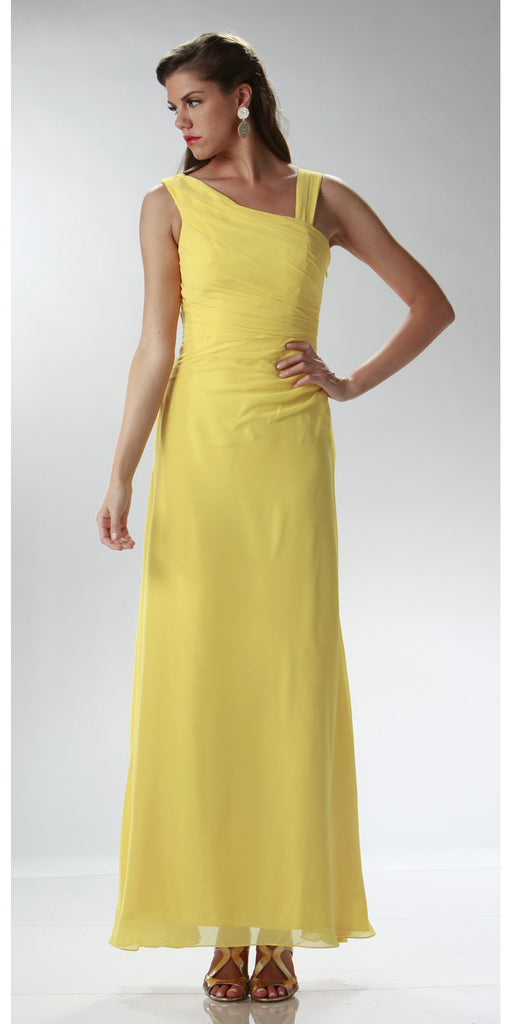 ON SPECIAL LIMITED STOCK - Asymmetrical Neck Sleeveless Yellow Formal Column Gown