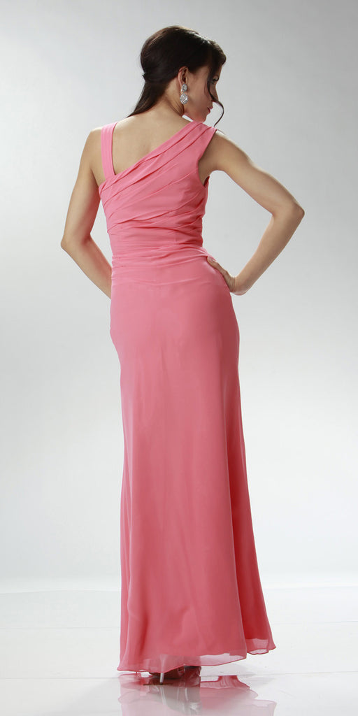 ON SPECIAL LIMITED STOCK - Asymmetrical Neck Sleeveless Coral Formal Column Gown