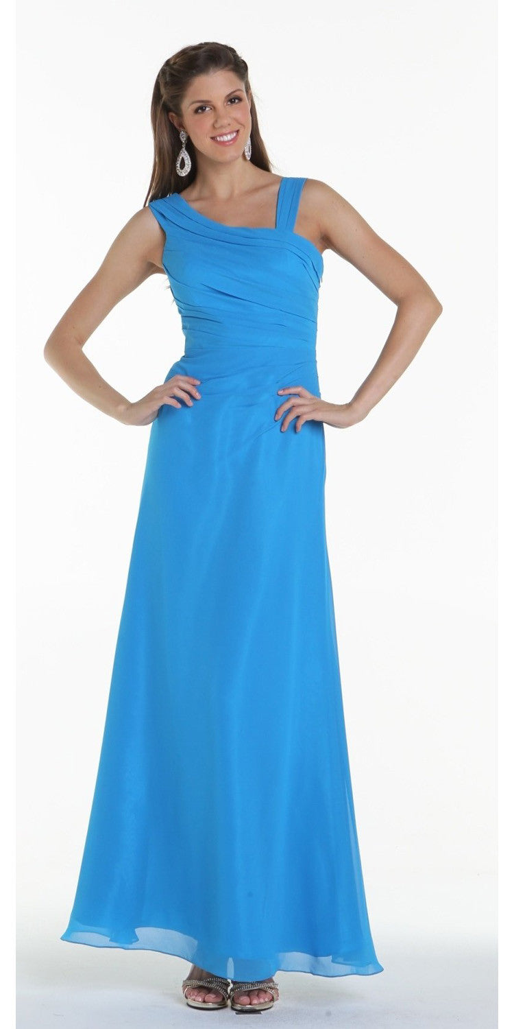 ON SPECIAL LIMITED STOCK - Asymmetrical Neck Sleeveless Ocean Blue Formal Column Gown