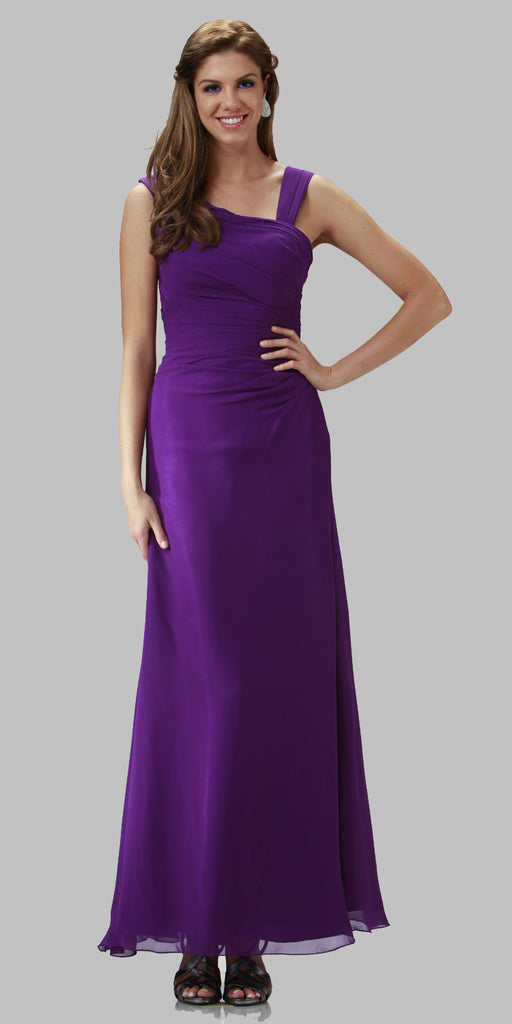 ON SPECIAL LIMITED STOCK - Asymmetrical Neck Sleeveless Purple Formal Column Gown