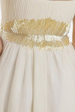 ON SPECIAL LIMITED STOCK - Asymmetrical Sweetheart Neck Ivory Gold Cocktail Dress