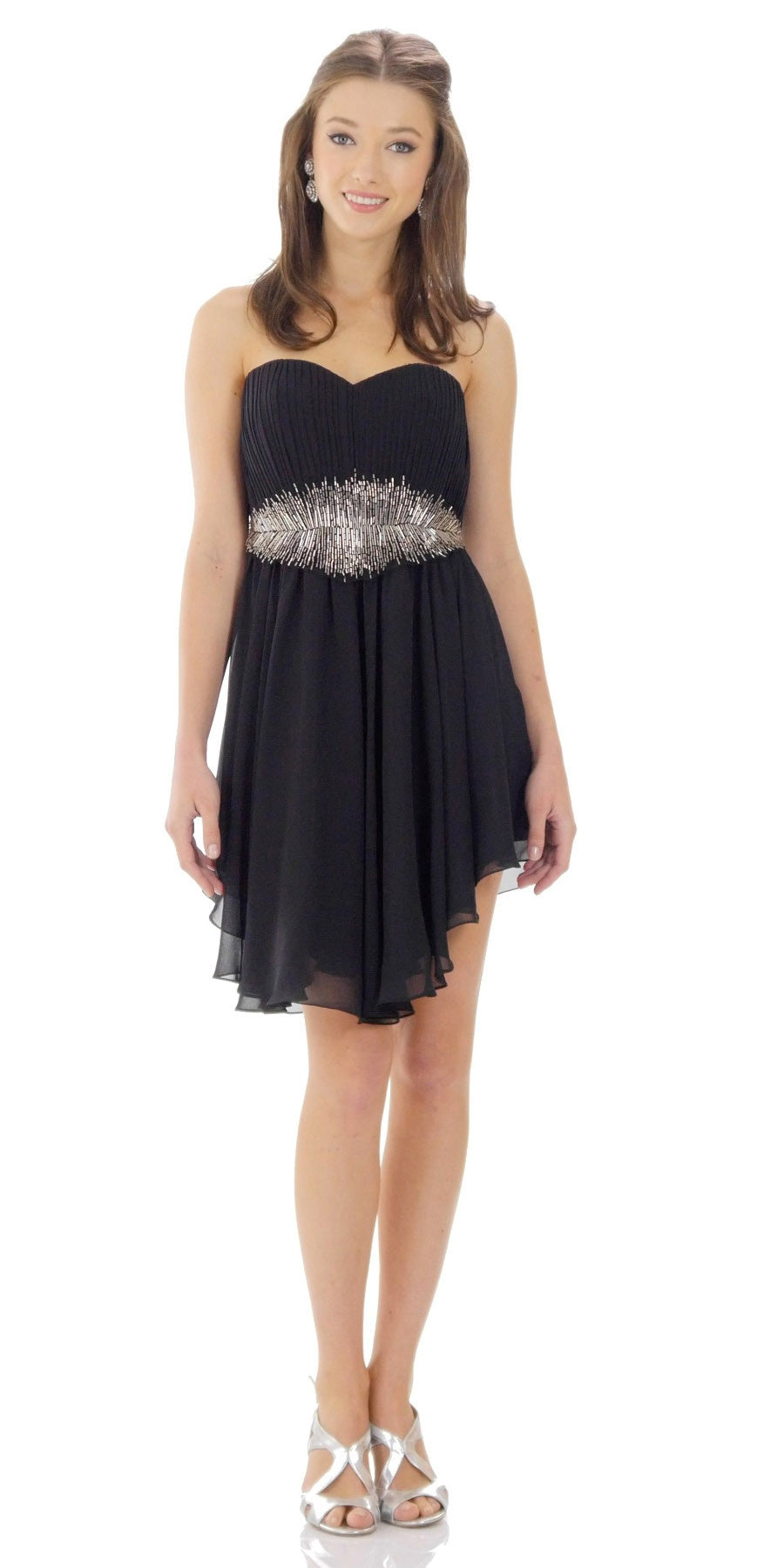 ON SPECIAL LIMITED STOCK - Asymmetrical Sweetheart Neck Black Silver Cocktail Dress