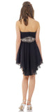ON SPECIAL LIMITED STOCK - Asymmetrical Sweetheart Neck Black Gold Cocktail Dress