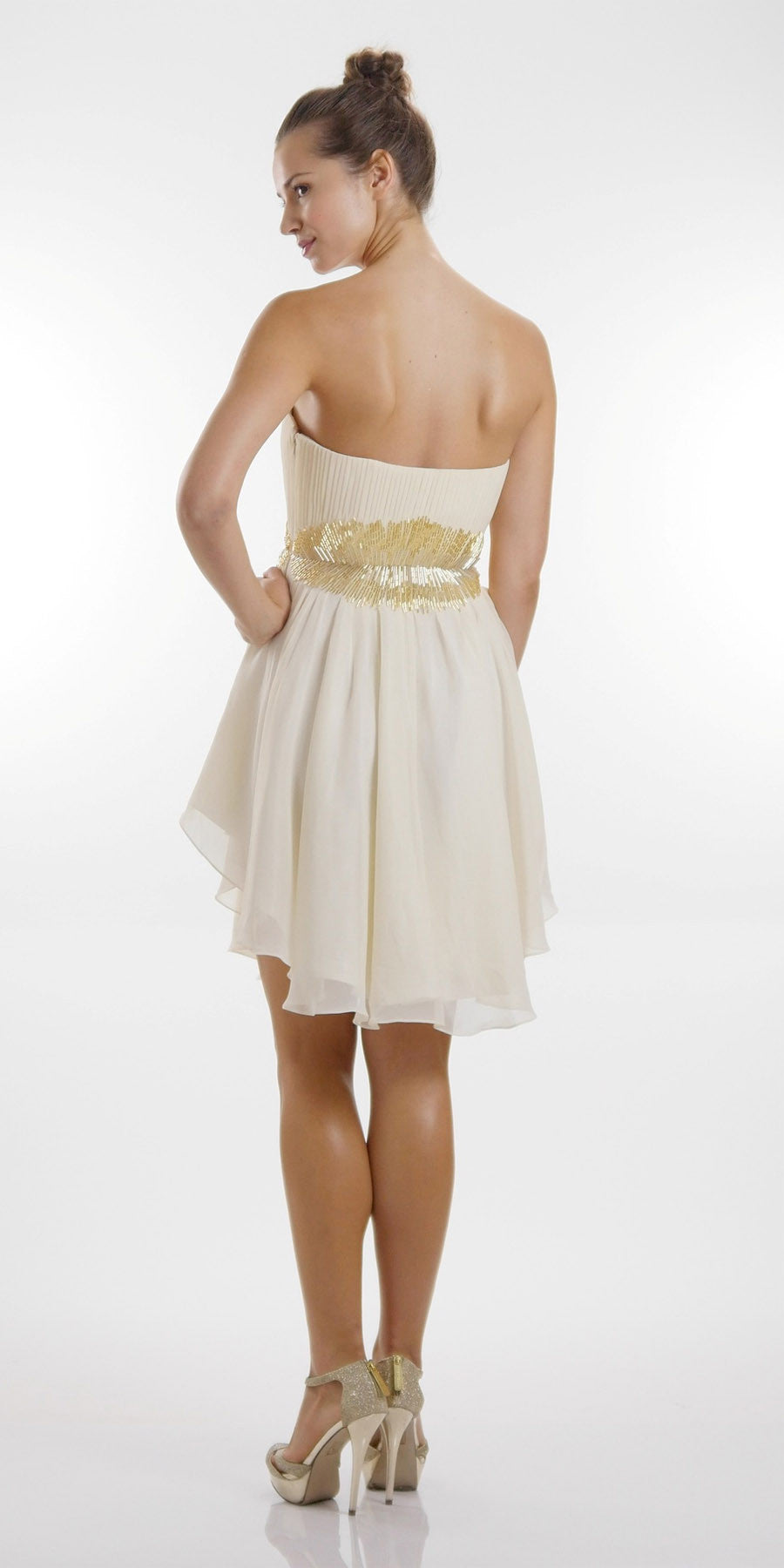 ON SPECIAL LIMITED STOCK - Asymmetrical Sweetheart Neck Ivory Silver Cocktail Dress