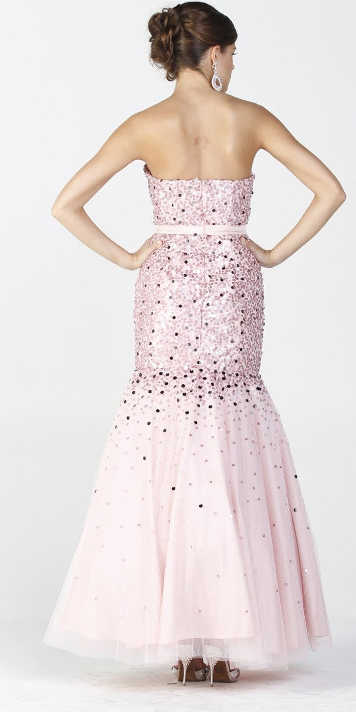 ON SPECIAL LIMITED STOCK - Baby Pink Trumpet Gown Mesh Long Strapless Large Sequins Mermaid Skirt