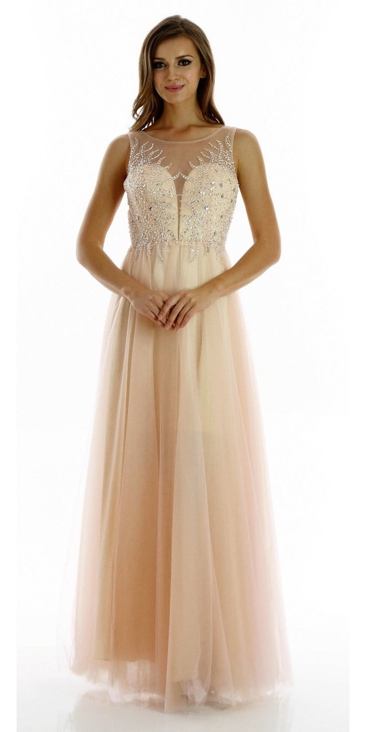 ON SPECIAL LIMITED STOCK - Beautiful Blush Champagne A Line Prom Gown Mesh Illusion Neckline Sequin Bodice