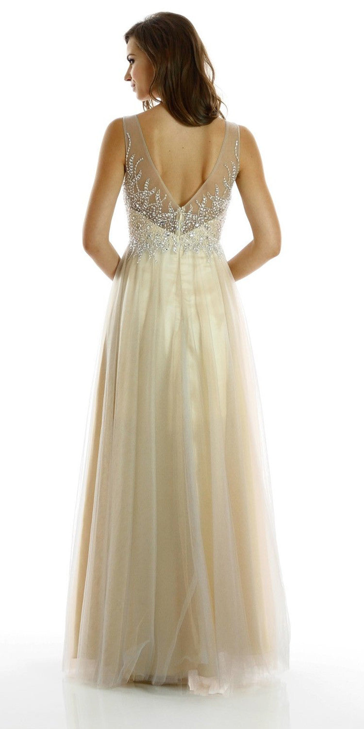 ON SPECIAL LIMITED STOCK - Beautiful Silver Champagne A Line Prom Gown Mesh Illusion Neckline Sequin Bodice