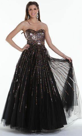 ON SPECIAL LIMITED STOCK - Black Ball Gown Strapless Sweetheart Gold Sequins Flowy Poofy Skirt