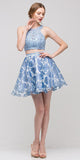 2 Piece Lace Top Dress Sky Blue Lining Criss Cross Back Print