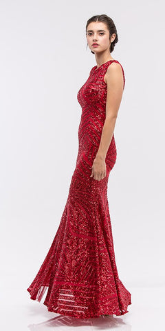 Juliet 632 Red Evening Gown Embellished Bodice Cut Out Waist Open Back