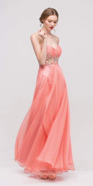 Ruched Sweetheart Neckline Strapless Coral Ball Gown