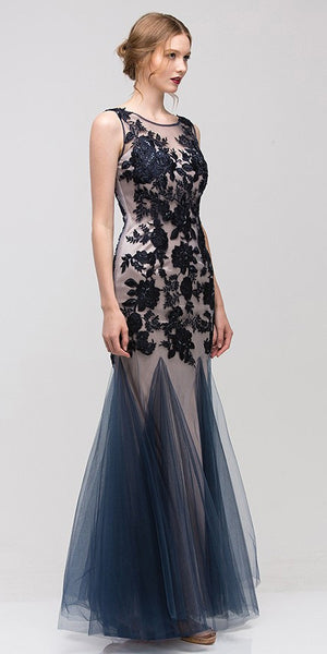 Sheath Mermaid Gown Navy Blue Nude Illusion Neck Lace Embroidery