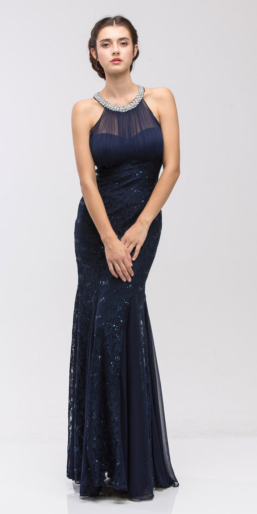 Eureka Fashion 5030 Mermaid Flair Skirt Lace Evening Gown Navy Blue Pearl Necklace