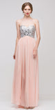 Corset Bodice Strapless Thigh Slit Peach Long Prom Gown