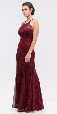 Lace Illusion Bodice Bateau Neck A-line Long Dress Burgundy