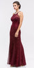 Eureka Fashion 5030 Mermaid Flair Skirt Lace Evening Gown Burgundy Pearl Necklace