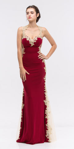 Burgundy Short Sleeves Applique Bodice A-Line Long Formal Dress