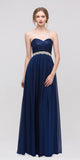A Line Chiffon Corset Back Dress Navy Blue Lace Bodice Empire
