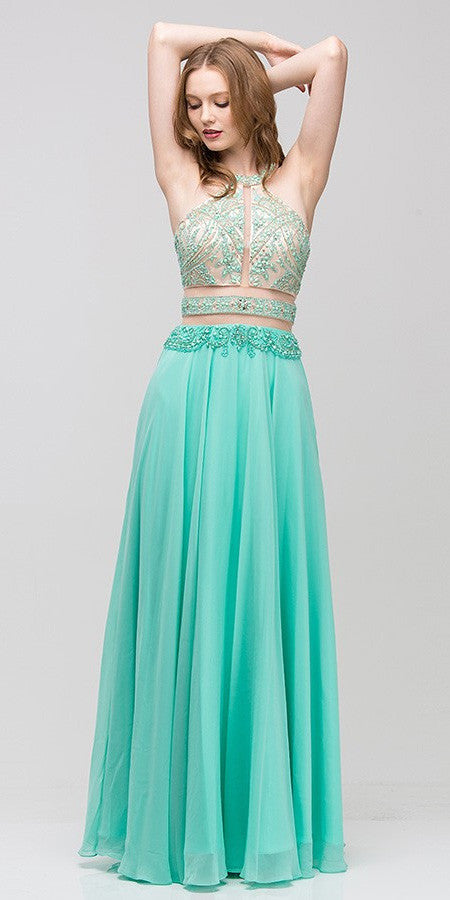 Halter Prom Gown Mint A Line Chiffon Nude Mesh