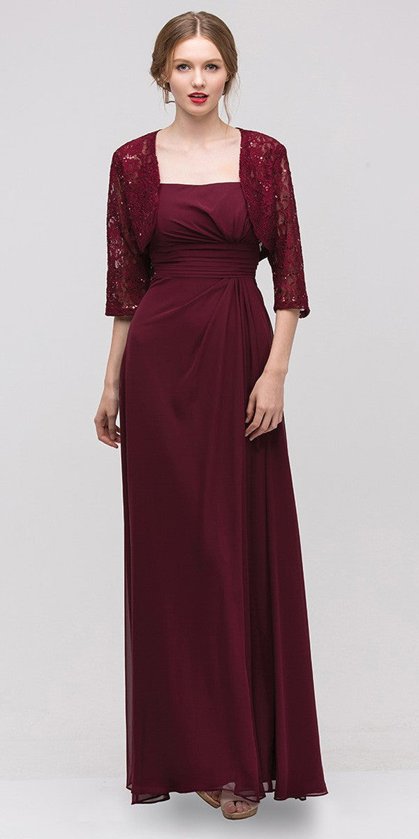 Laced Shrug Side Gathered Long Plum Formal Dress