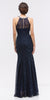 Mermaid Flair Skirt Lace Evening Gown Navy Blue Pearl Necklace