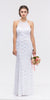 Mermaid Flair Skirt Lace Evening Gown White Pearl Necklace