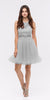 Mock 2 Piece Silver Dress Short Poofy Skirt Lace Top
