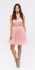 Mock 2 Piece Blush Dress Short Poofy Skirt Lace Top