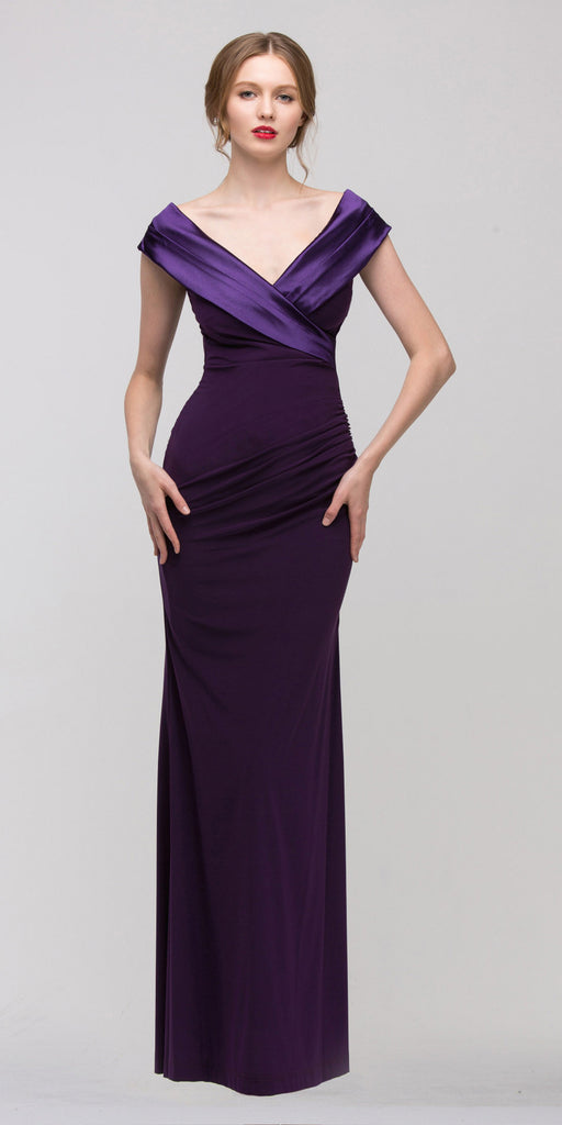 Overlapping V Neck Long Thigh Slit Plum Column Gown