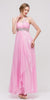 Single Strapped Studded Baby Pink Long Quinceanera Dress