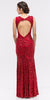 Sparkling Sequin Gown Red Long Sheath Open Slit Back
