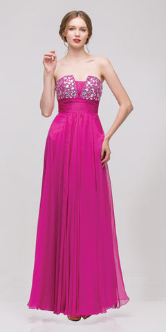 Studded Bodice A Line Long Fuchsia Ball Gown