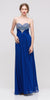 Studded Bodice Sweetheart Neckline Long Royal Blue A Line Gown