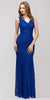 V Neck Sleeveless Floor Length Royal Mermaid Party Gown