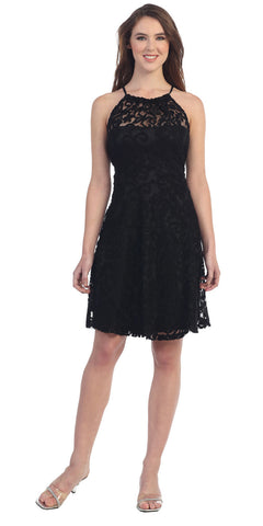 Little Black Lace Cocktail Dress Halter Strap