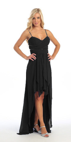 Chiffon High Low Black Bridesmaid Dress Modest Wide Strap