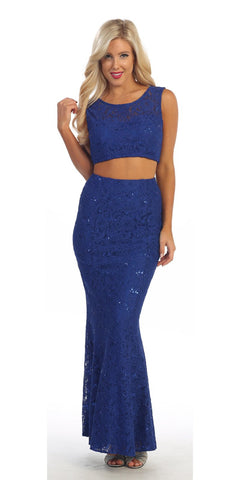 Long 2 Piece Royal Blue Lace Dress Sleeveless Form Fitting V Back