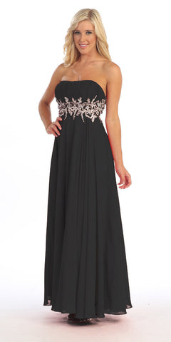Long A Line Black Prom Gown Empire Waist Rhinestones Strapless