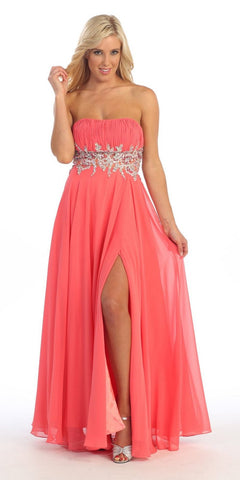 Long A Line Coral Prom Gown Empire Waist Rhinestones Strapless