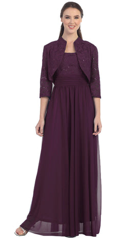 Chiffon Long Evening Dress Plum Lace Bolero Jacket