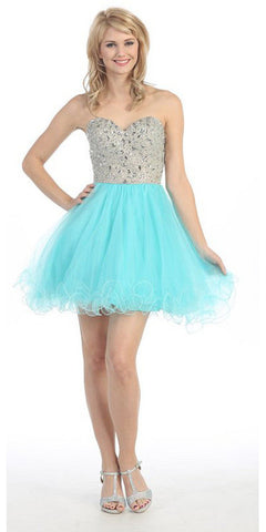 Short Flared Strapless Studded Bodice Aqua Prom Dress