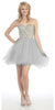 Short Flared Strapless Studded Bodice Silver Prom Dress