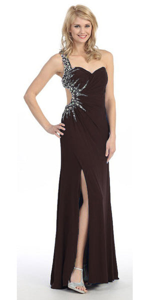 Long Single Strapped Thigh Slit Studded Black Pageant Dress