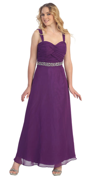 Long Chiffon Eggplant A Line Formal Chiffon Gown Rhinestone Empire