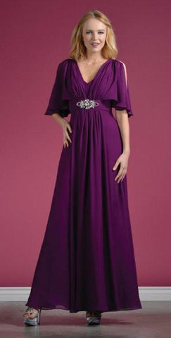 Long Chiffon Grecian Eggplant Dress Mid Length Sleeves V Neck