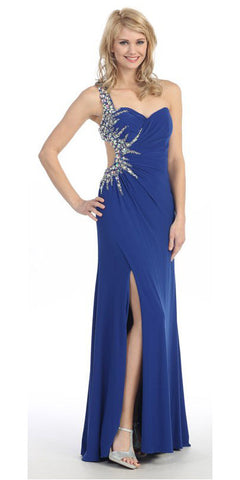 Long Single Strapped Thigh Slit Studded Royal Blue Pageant Dress