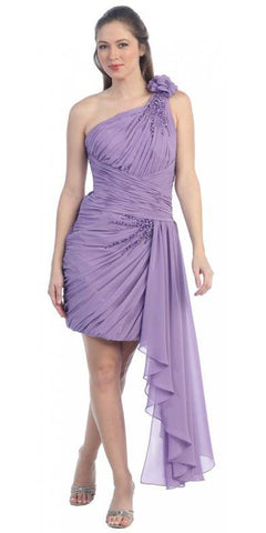 Short Goddess Lavender Dress Single Strap Left Sash Ruched Bodice